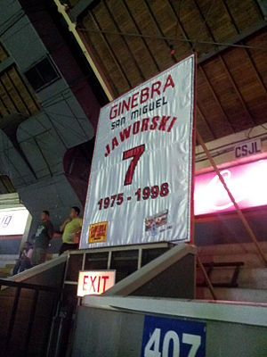 Barangay Ginebra San Miguel - Robert Jaworski's retired jersey banner at the rafters of the Smart Araneta Coliseum during the retirement ceremonies.