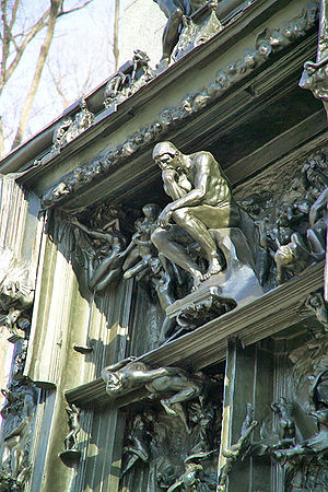 "Kōjirō Matsukata - A ""Thinker""-like detail above the closed doors of the entrance at Rodin's ""Gates of Hell"" in front of the National Museum of Western Art"