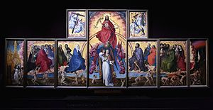 Beaune Altarpiece - The Beaune Altarpiece, c. 1445–1450. 220cm × 548cm (excluding frames). Oil on oak, Hospices de Beaune, interior view