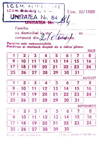 Rationing - Romanian ration card, 1989