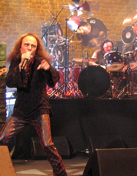 Dio and drummer Vinny Appice performing with Heaven & Hell in Katowice, Poland, on June 20, 2007 Ronnie James Dio HAH Katowice.jpg