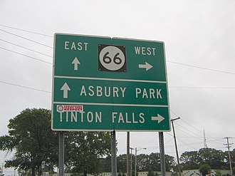 New Jersey Route 66 - Signage where County Route 16 intersects Route 66
