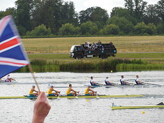 Australia at the 2012 Summer Olympics - Australia (left boat) during the final of the men's quadruple sculls rowing to bronze.