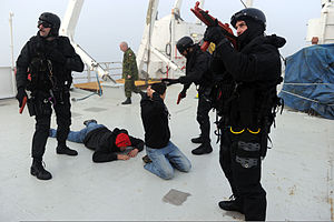 Emergency Response Team (RCMP) - RCMP MSERT operators detain individuals in a simulated illegal migrant vessel in a training exercise as a part of Exercise Frontier Sentinel 2012 in Sydney, Nova Scotia.