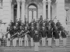 Henri Berger - Henri Berger, standing in front, the bandmaster of the Royal Hawaiian Band, the oldest municipal band in the United States