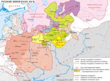 карта Великого княжества Литовского в 1340—1389