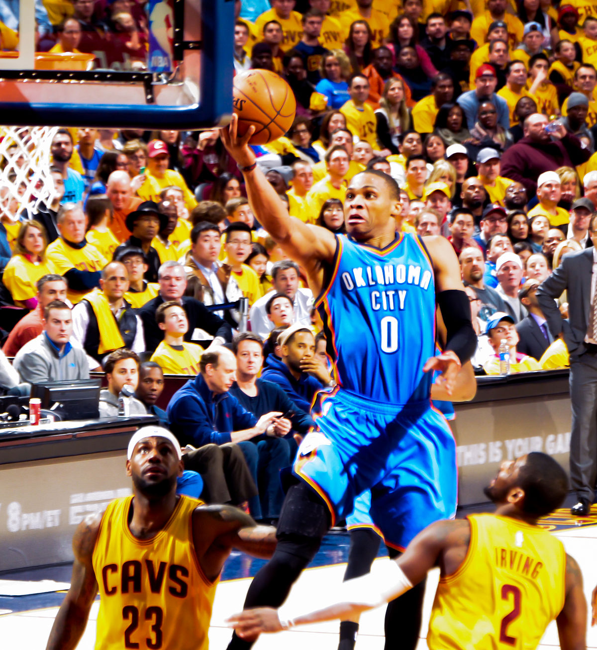 Russell Westbrook shoots against Cavs (cropped).jpg