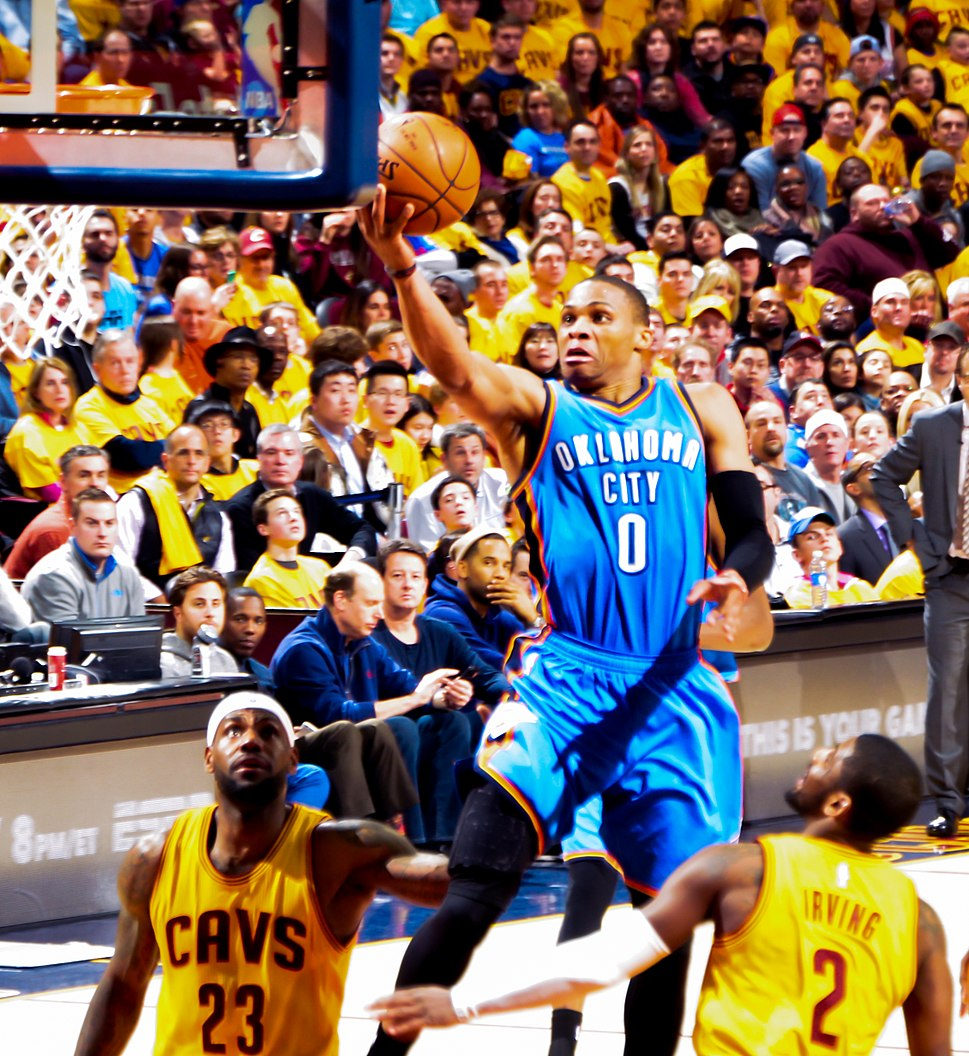 Russell Westbrook shoots against Cavs (cropped)
