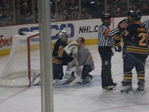 Sports injury - Ryan Miller of the Buffalo Sabres suffers an ankle sprain.