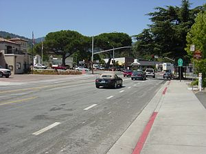 Saratoga, California - Downtown Saratoga, facing southwest at the intersection of Saratoga-Los Gatos Blvd. (to the southeast) and Saratoga Ave (the road on which this picture is taken from) and Big Basin Way/State Route 9 (ahead), and Saratoga-Sunnyvale road (to the north)