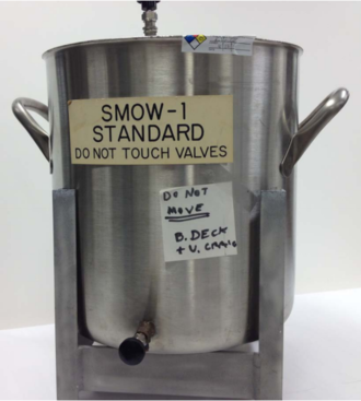 Vienna Standard Mean Ocean Water - The original container of VSMOW (then called SMOW-1) collected by Harmon Craig