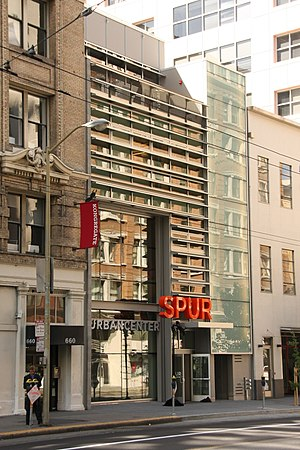 San Francisco Bay Area Planning and Urban Research Association - The SPUR Urban Center at 654 Mission Street, San Francisco.