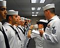 Sailors undergo a uniform inspection. (8596676659).jpg