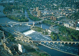 waterfall on the Mississippi River in Minneapolis, Minnesota, United States