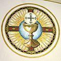 Saint Remy Catholic Church (Russia, Ohio) - fresco, Eucharistic chalice and host.jpg