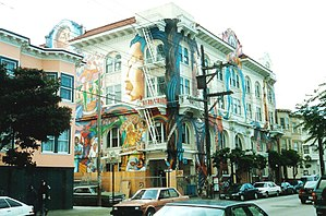 Mission District, San Francisco - The Women's Building.  Street murals and paintings of Latin American culture by local artists are a common feature and attraction.