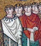 San vitale, ravenna, int., presbiterio, mosaici di teodora e la sua corte 08.jpg