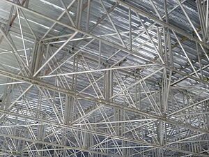 Scaffolding by Balfour & Beatty during refurbishment of the Waverley Station roof, Edinburgh 2011
