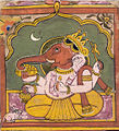 Seated Ganesh miniature. Rajasthan. Folkstyle. 19th century.jpg