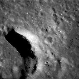 Secchi (lunar crater) - Northeastern Secchi at low sun angle, from Apollo 11