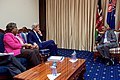 Secretary Kerry and Assistant Secretary Greenfield Listen to Kenyan President Uhuru Kenyatta Speak at the State House in Nairobi (28865751250).jpg