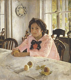 The girl with peaches. The portrait of Vera Sa...