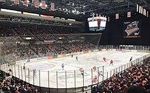Un partido de hockey indoor