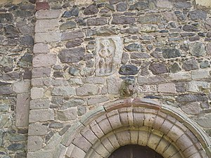 St Laurence's Church, Church Stretton - Sheila-na-gig above the north doorway