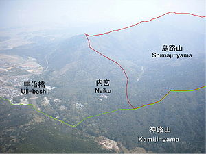 Ise Grand Shrine - Aerial view of the Naikū (inner shrine) and its borders in relation to Mount Shimaji and Mount Kamiji
