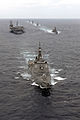 Ships from the Ronald Reagan Strike Group (RRSG) and Japan Maritime Self Defense Force steam in formation during a pass and review ceremony in the Western Pacific Ocean March 18, 2007 070318-N-HX866-068.jpg