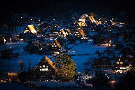 Night view of the village of Shirakawa-go.