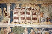 Siedlęcin Wieża Książęca Gotyckie malowidła ścienne Królowa Ginewra i jej dwór.JPG