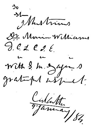 Sourindra Mohun Tagore - Signature on book gifted by Tagore to Monier Williams
