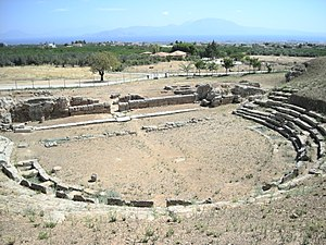 Sicyon - The ancient theatre of Sikyon today.