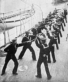 U.S. sailors practice with the singlestick circa Spanish–American War