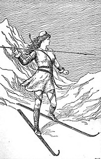 Norse goddess associated with bowhunting, skiing, winter, and mountains