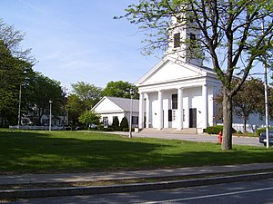 Slatersville, Rhode Island - Image: Slatersville Common and Church