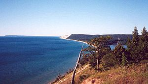 Protected areas of Michigan - Sleeping Bear Dunes and South Manitou Island from Empire Bluff