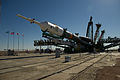 Soyuz TMA-05M spacecraft raising into position at the launch pad.jpg