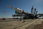 Soyuz TMA-05M spacecraft raising into position at the launch pad.jpg