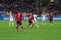 Spain - Chile - 10-09-2013 - Geneva - David Pizarro, Raul Albiol, Javi Garcia, Arturo Vidal, Marcos Gonzalez and Roberto Soldado.jpg