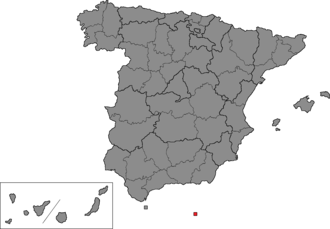 Melilla (Congress of Deputies constituency) - Location of Melilla within Spain.