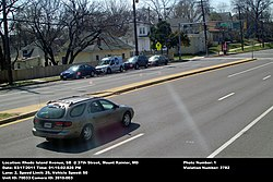 Speed camera in Mount Rainier, Maryland catching a station wagon speeding on US 1