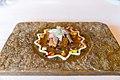 Spicy mandala of artichoke flower, milk-fed lamb belly, lamb sweetbreads, curry yogurt, beetroot, spinach, turnip, lemon, tangerine, sweet potato, leaves and flowers (15685290008).jpg