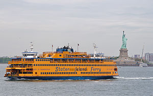 Ferry - The Staten Island Ferry in the United States shuttles commuters between Manhattan and Staten Island in New York City.