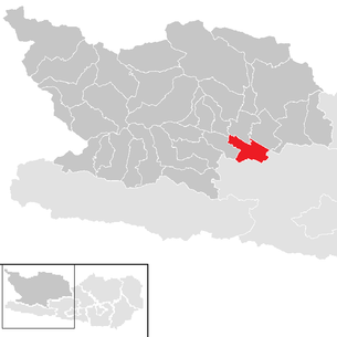 Location of the municipality of Spittal an der Drau in the Spittal an der Drau district (clickable map)