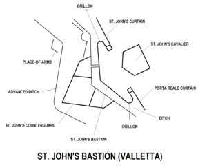 Saint John's Cavalier - Image: St. John's Bastion Valletta map
