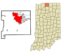 St. Joseph County Indiana Incorporated and Unincorporated areas South Bend Highlighted.svg