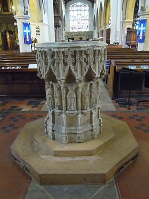 St Mary's Church, Hitchin - The baptismal font dates from about 1470