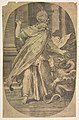 St Paul overcoming the viper, within an architectual setting, an oval composition MET DP812416.jpg
